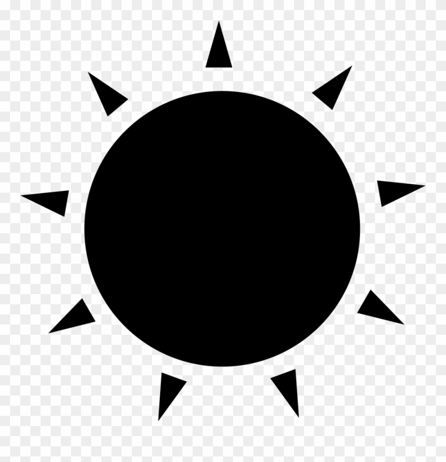 Sun Black Circular Shape With Small Rays Of Triangles.