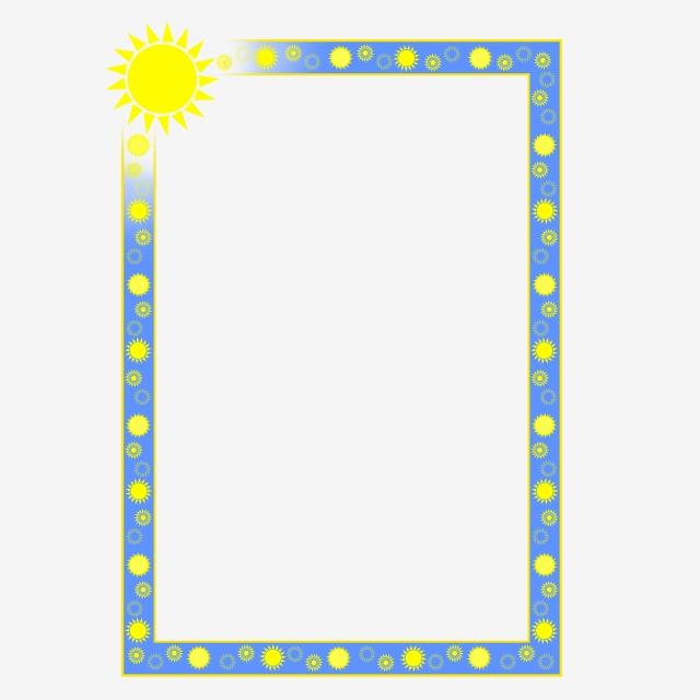 Summer Sun Blue A4 Page Border Png Psd, Summer, Sun, Blue.