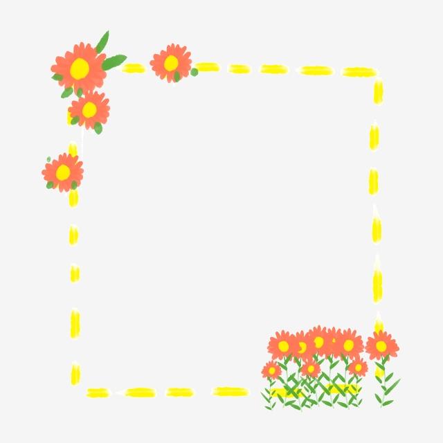 Red Sun Flower Border Illustration, Sun Flower Border.