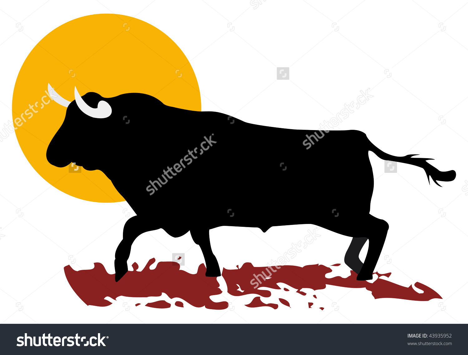 Bull And Sun Of South Of Spain, In Vector Mode.
