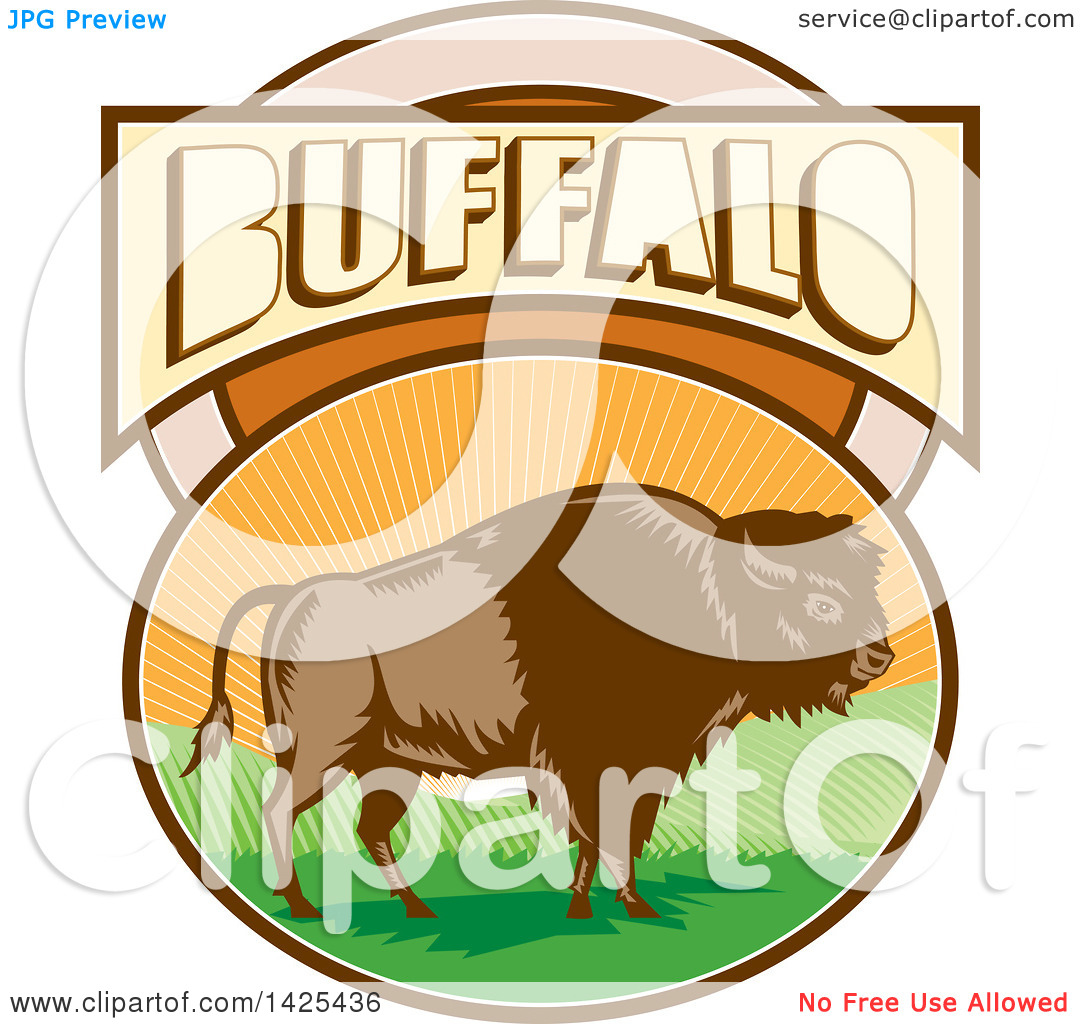 Clipart of a Retro Woodcut American Bison in an Oval with Hills.