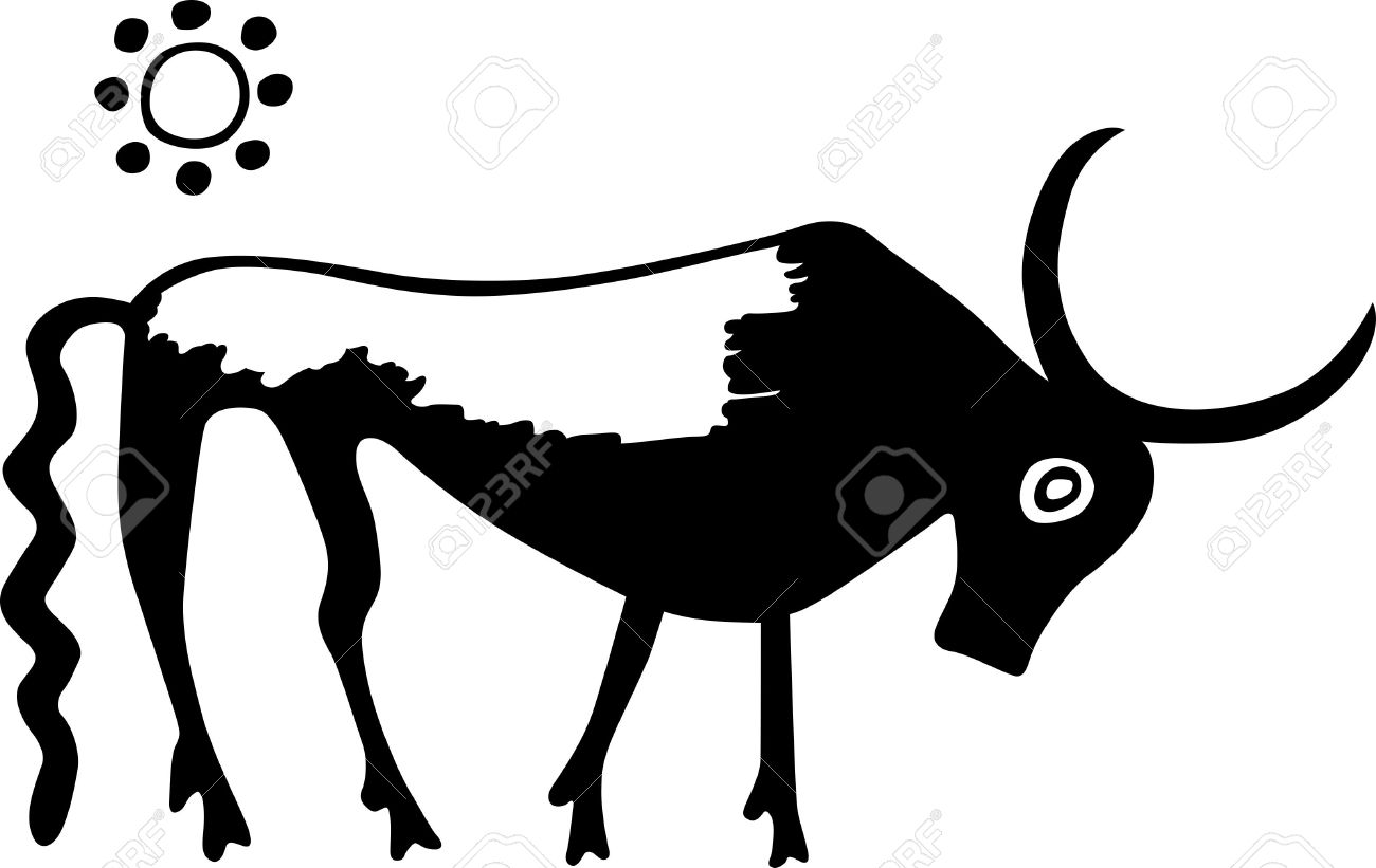Ancient Greece Bull And The Sun In The Sky Royalty Free Cliparts.