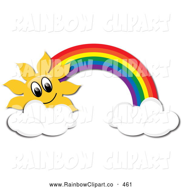 Vector Clip Art of a Happy Sun and Rainbow with Two Clouds by Pams.