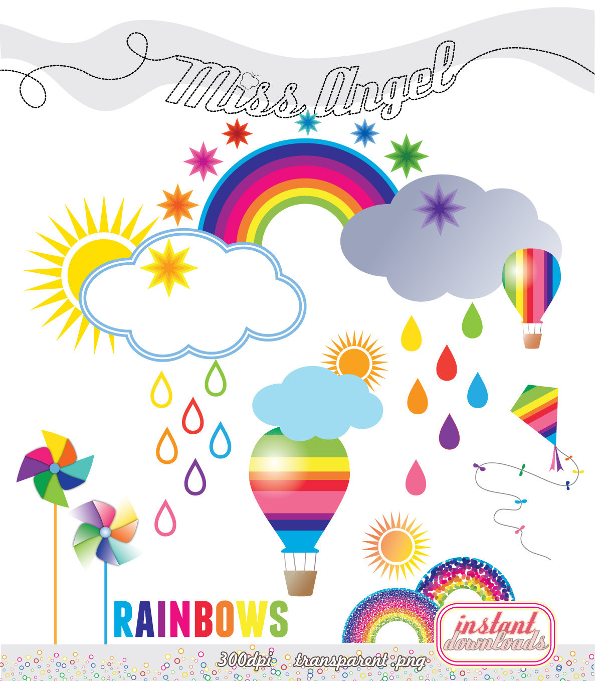 Rainbows CLIPART 23 files. Weather 6