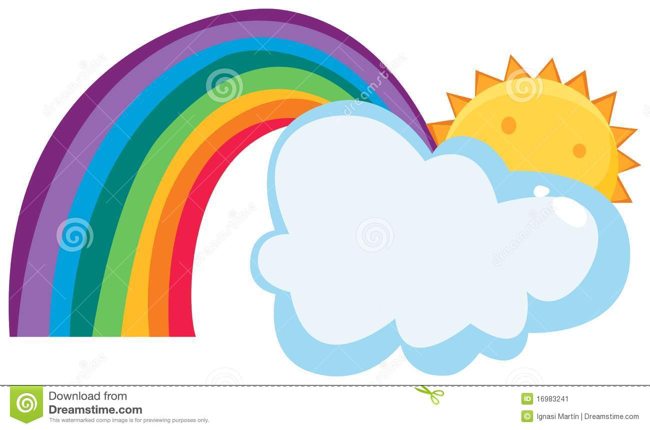 Sun Cloud And Rainbow Stock Image.