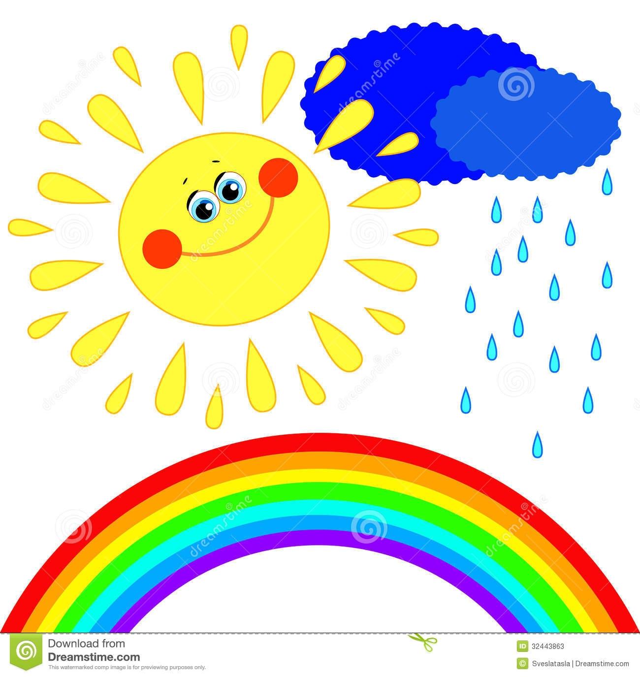 Sun Cloud Rainbow Clipart.