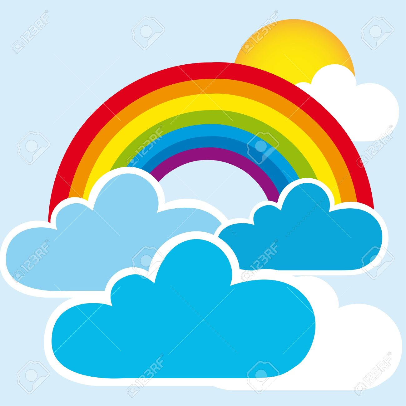 Rainbow And Clouds With Sun, Landscape. Vector Royalty Free.