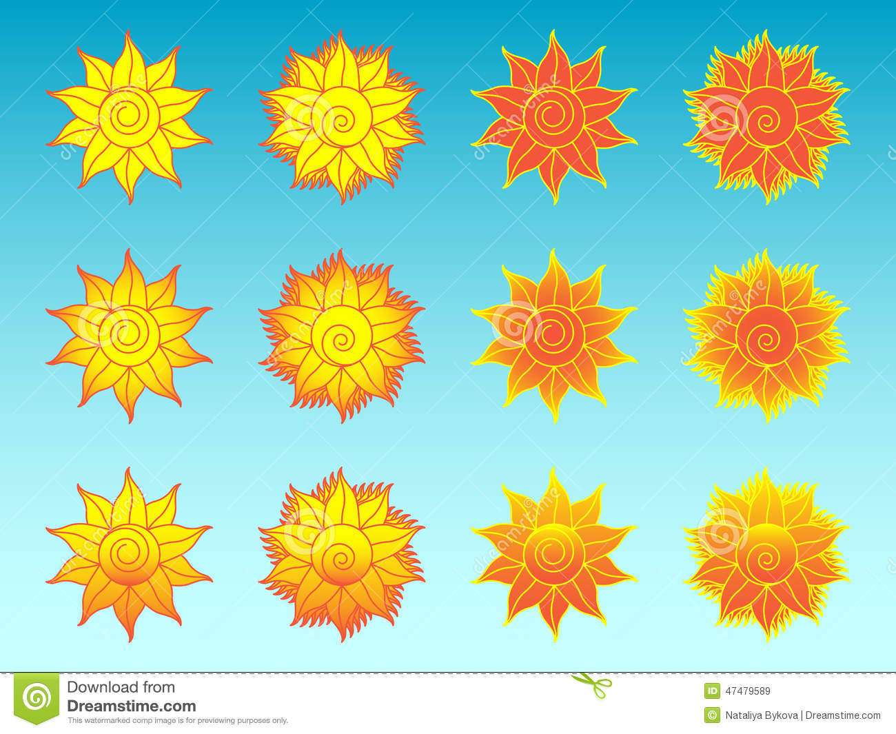 Flower Sun Stylized Ethnic Icons Set Stock Vector.