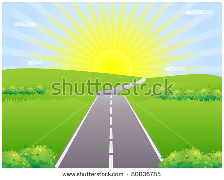 Road Against The Backdrop Of The Rising Sun Among Meadows.