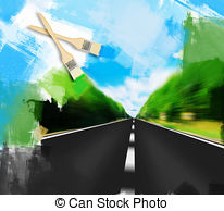 Clip Art of Express road disappearing over the horizon to the sun.