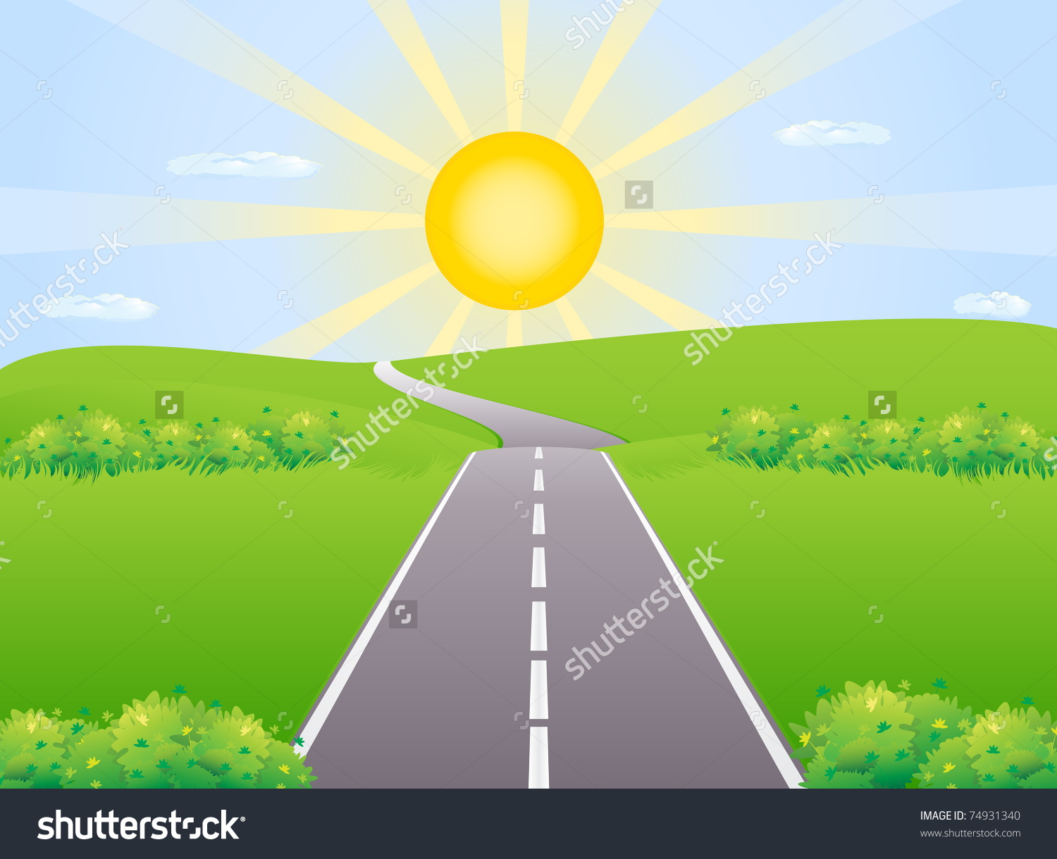 Highway Against The Backdrop Of The Rising Sun Among Meadows.