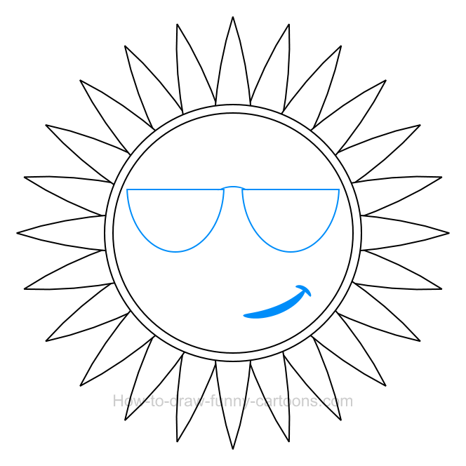 How to draw a sun clip art.