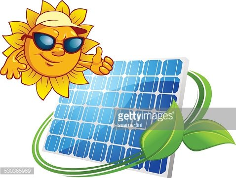 Sun energy concept with cartoon sun and solar panel Clipart.