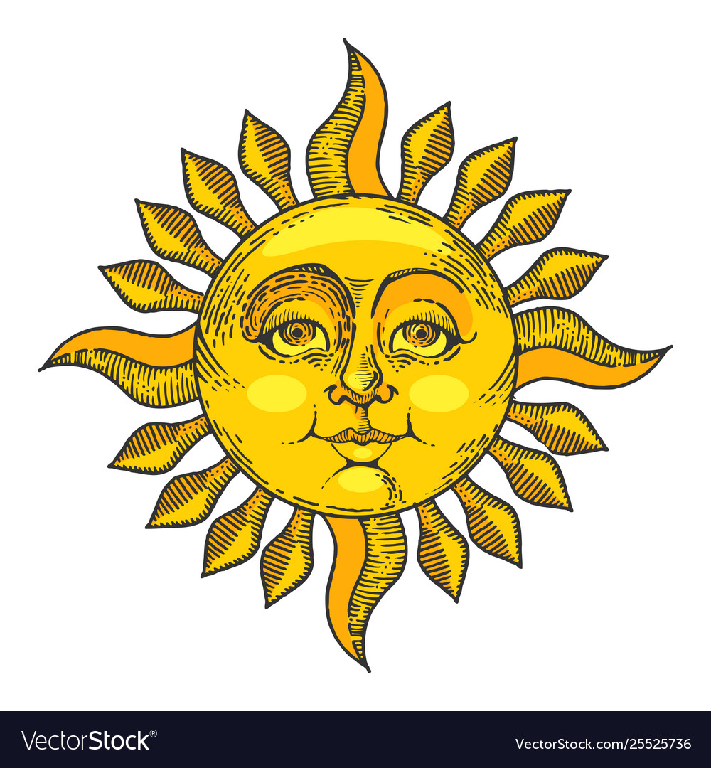 Sun with face color sketch engraving style.