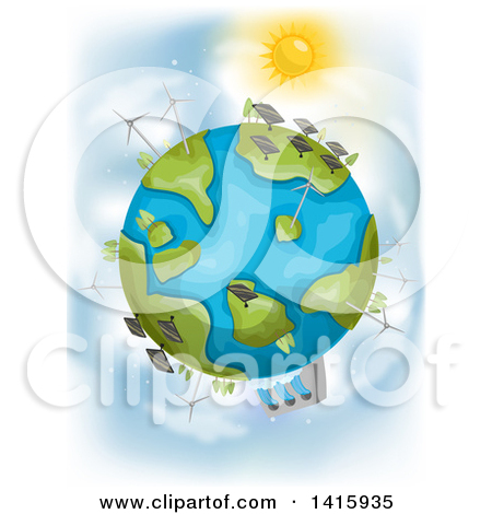 Clipart of a Deforested, Flooded and Polluted Earth Character.