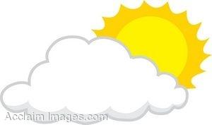 Sun behind clouds clipart.