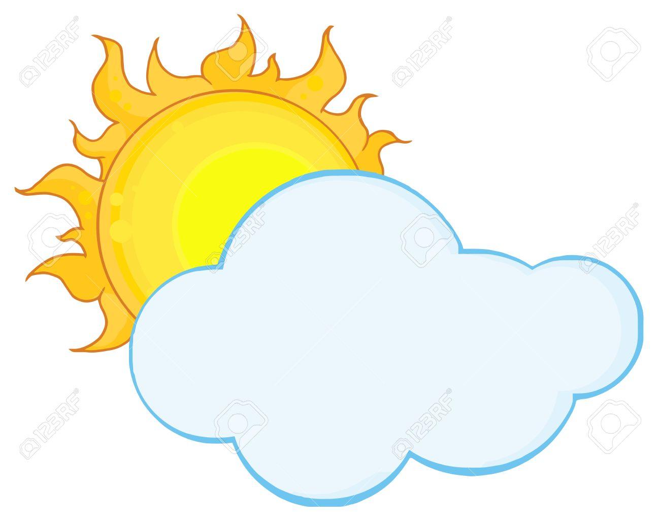Sun Shining Hiding Behind Cloud Royalty Free Cliparts, Vectors.