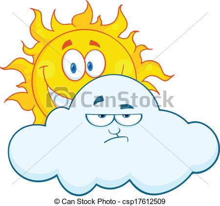 Vector Clipart of Sun Smiling Behind A Sad Cloud.