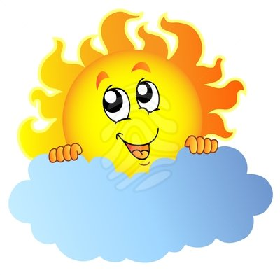 Sun behind clouds clipart.