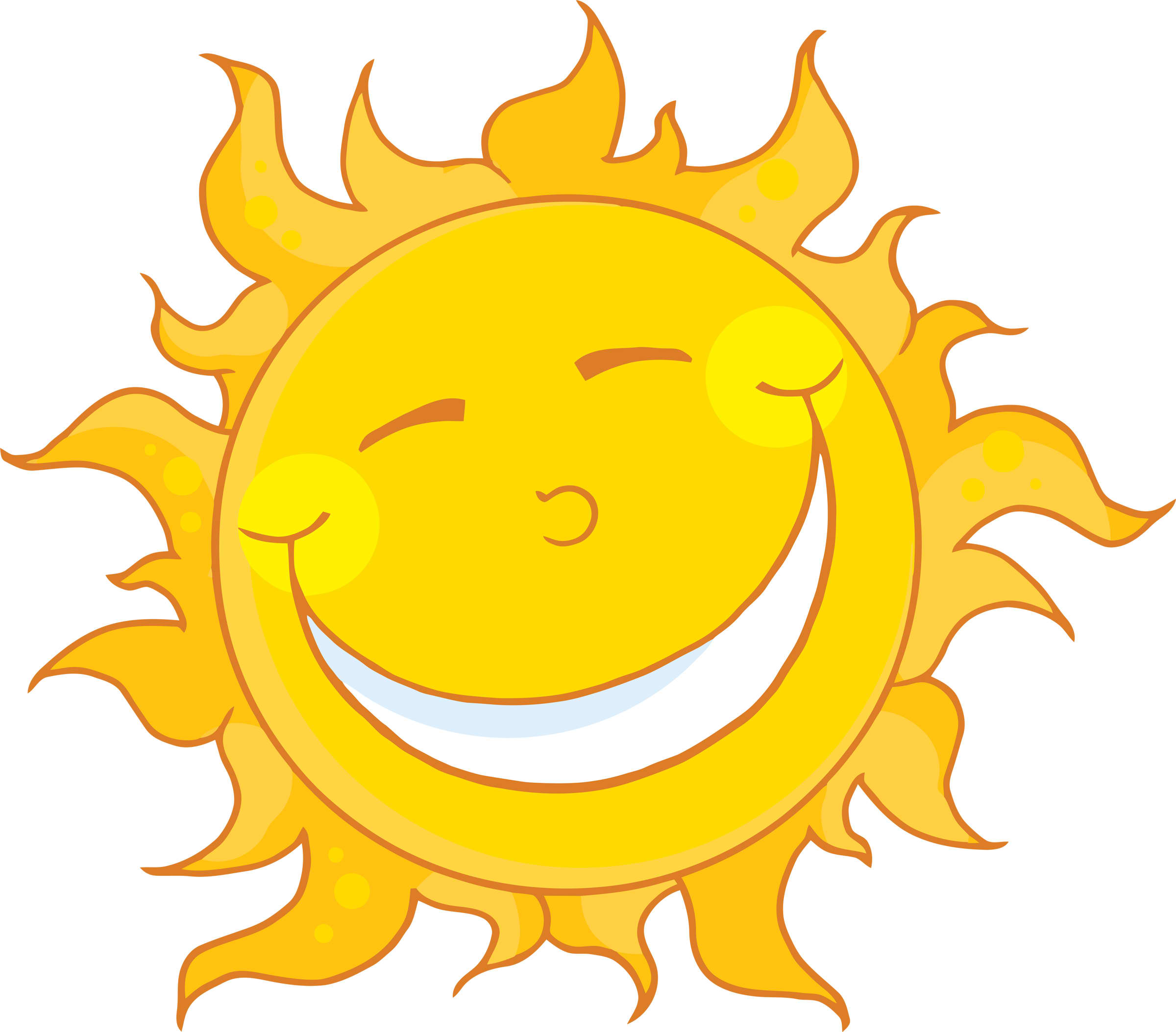 Cartoon Happy Face Sun Clip Art free image.
