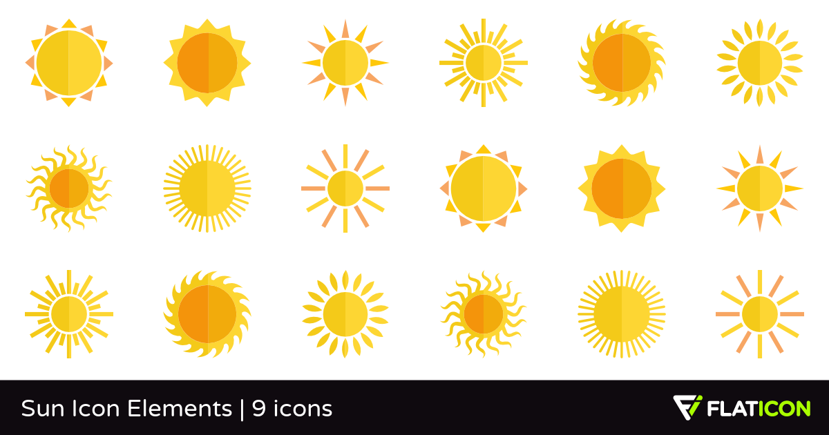 Sun Icon Elements 9 free icons (SVG, EPS, PSD, PNG files).