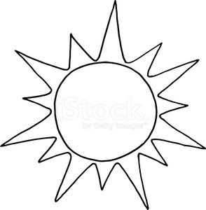 Black and White Sun Clipart Image.