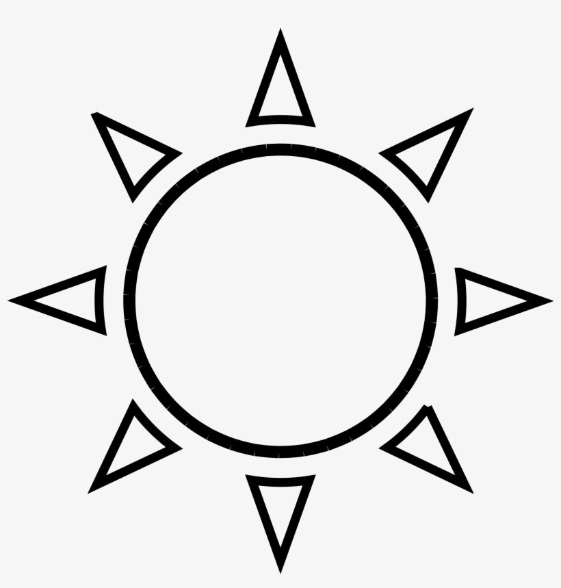 Sun clipart outline drawing black and white image png.