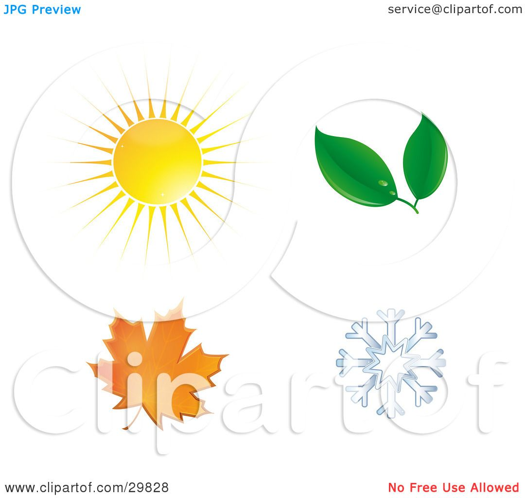 Clipart Illustration of a Summer Sun, Spring Leaves, Autumn Maple.
