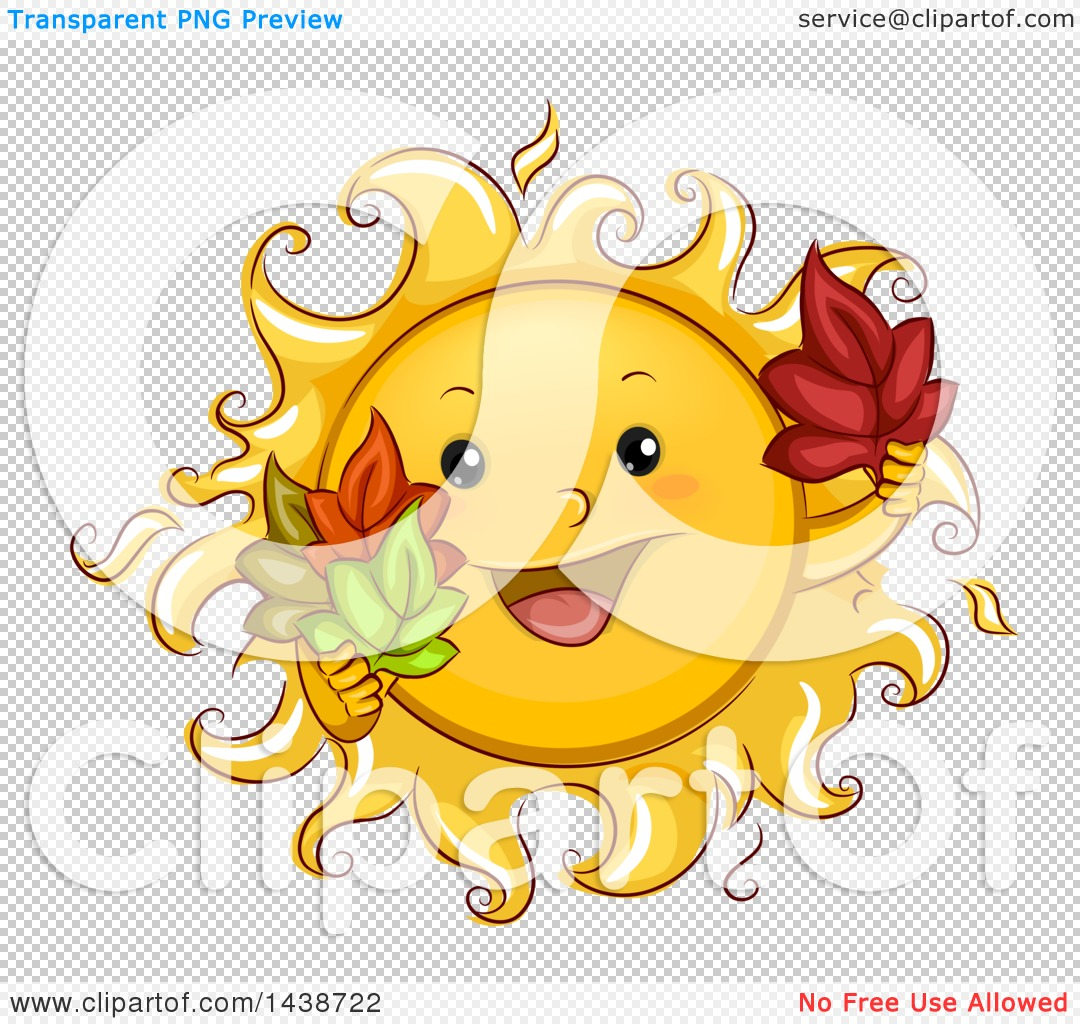 Clipart of a Happy Sun Mascot Holding Autumn Leaves.