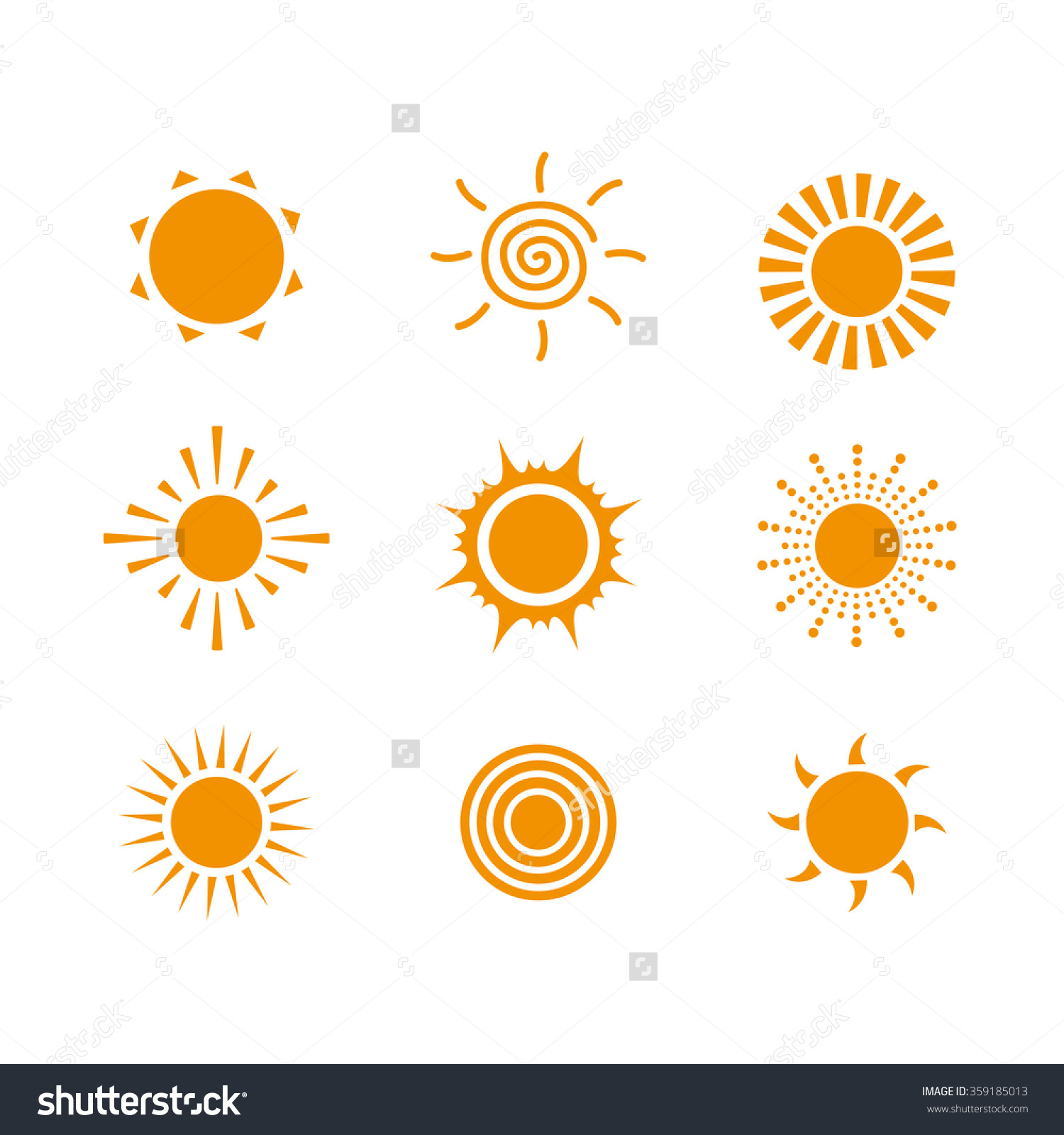 Sun Icon Vector Set Sun Logo Stock Vector 359185013.