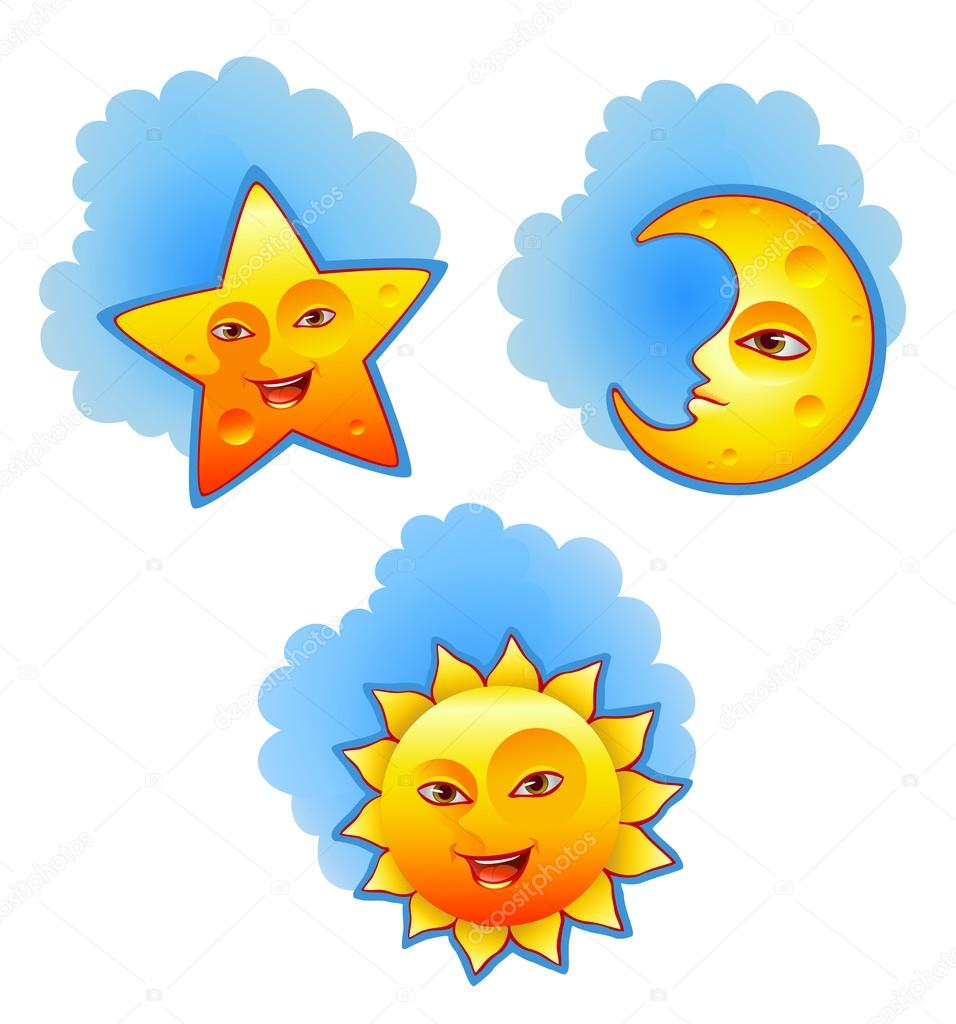 Vector illustration of sun, moon and star — Stock Vector.