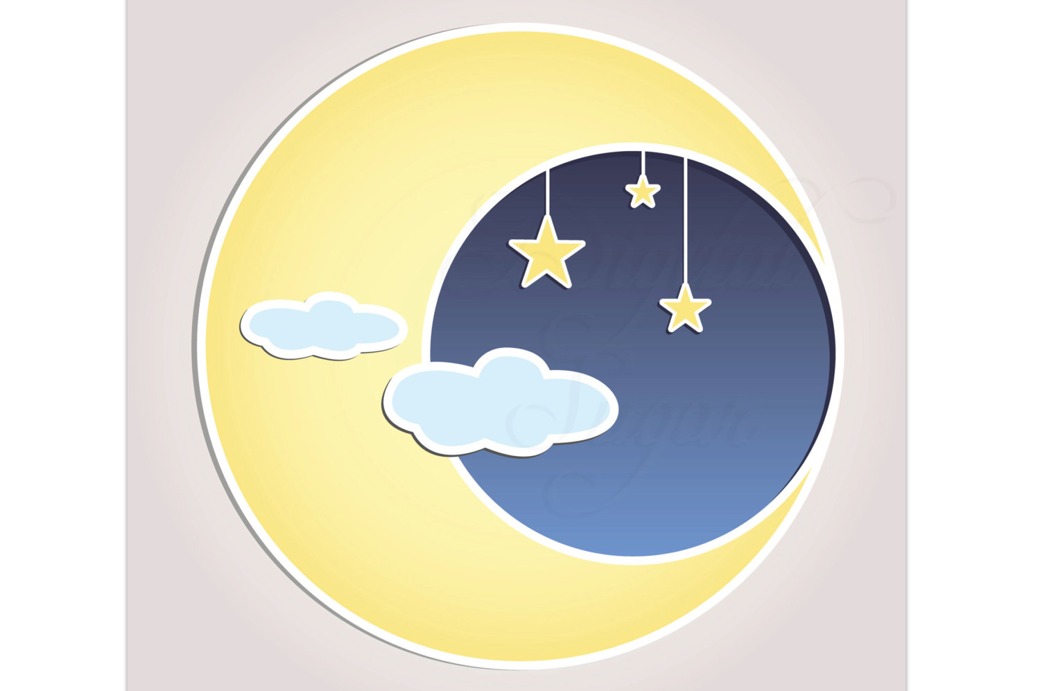 Sun Moon Stars Clip Art Vector Baby Shower Invitation.
