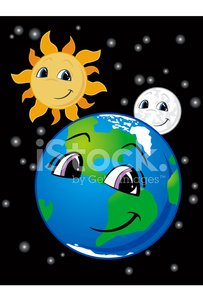 Smiling Earth, Moon and Sun Clipart Image.