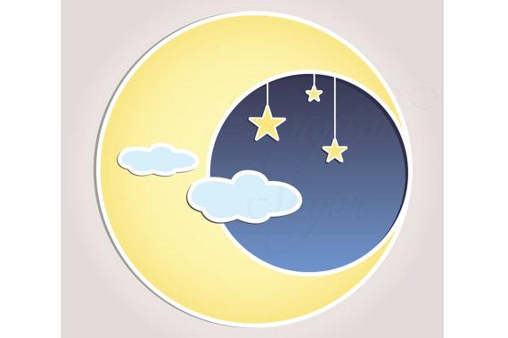 Sun Moon Stars Clip Art Vector Baby Shower Invitation.