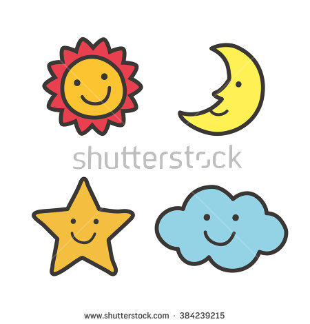 Sun Moon Stars Stock Images, Royalty.