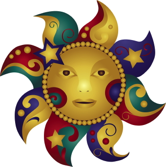 Sun, Moon and Stars clip art.