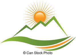 Mountain And Sun Clipart.