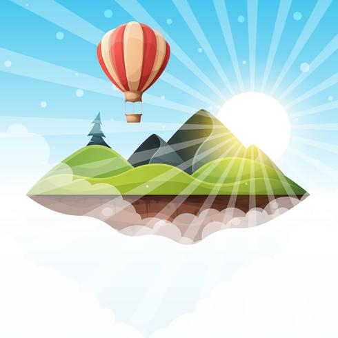 Cartoon island landscape illustration. Fir, mountain, sun.