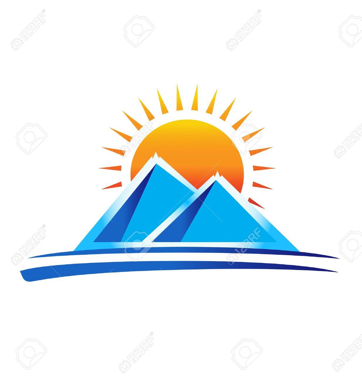 Sun And Mountain Clipart.