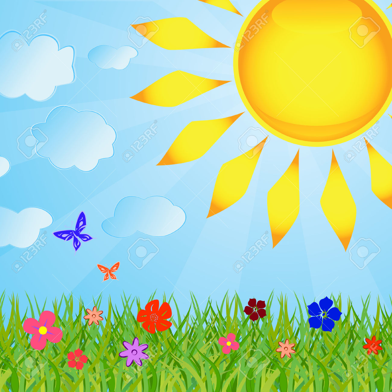 Summer Background With The Sun And A Grass Royalty Free Cliparts.