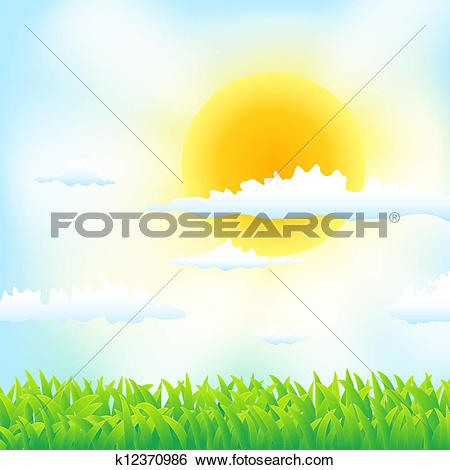 Clip Art of spring background with grass, sun and clouds k12370986.