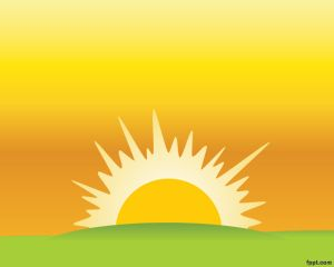Sunset PowerPoint template with yellow background, sun.