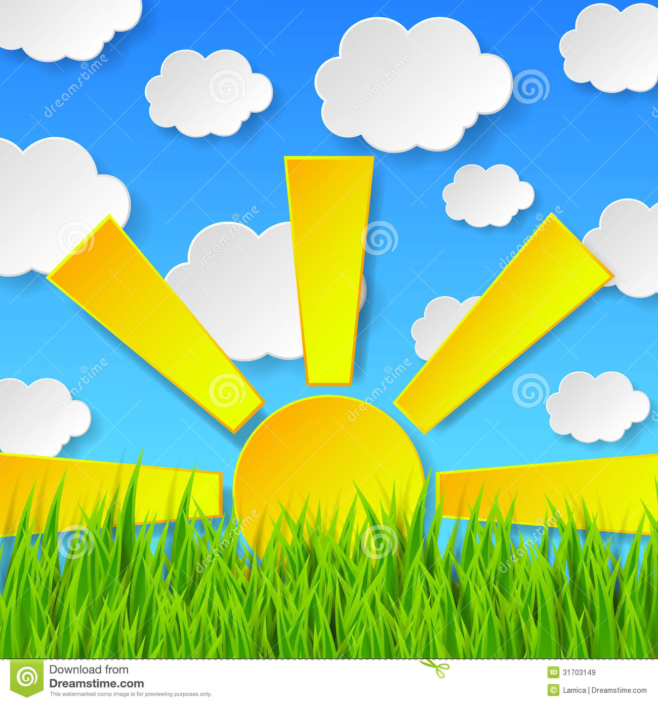 Sun and grass clipart.