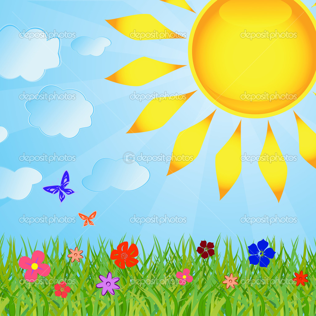 Summer background with the sun and a grass — Stock Vector.