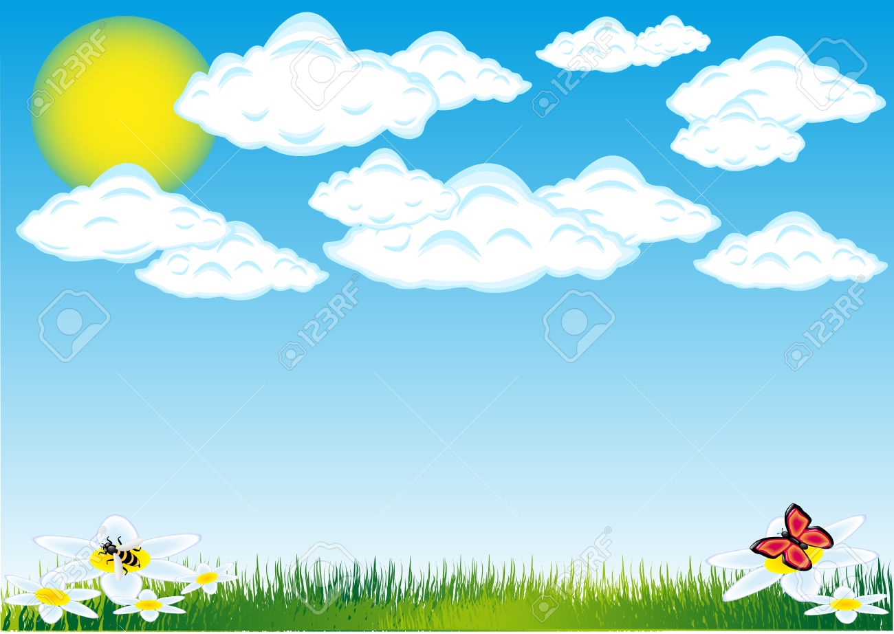 Nature Cloud Sun Grass Vector Illustration Royalty Free Cliparts.