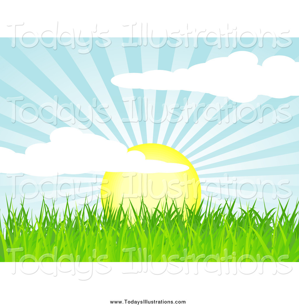 Clipart of a Sunrise over Green Grass by elaineitalia.