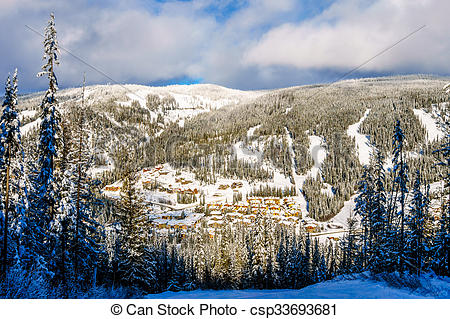 Pictures of Skiing above village of Sun Peaks.