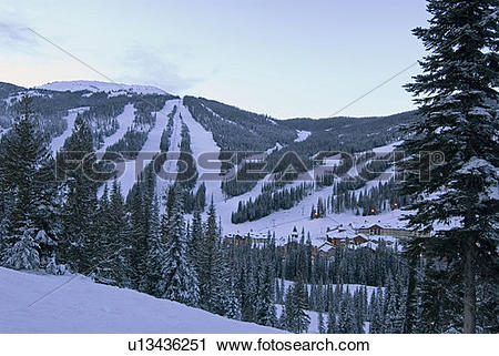 Stock Photography of The Village and North slopes of Sun Peaks Ski.