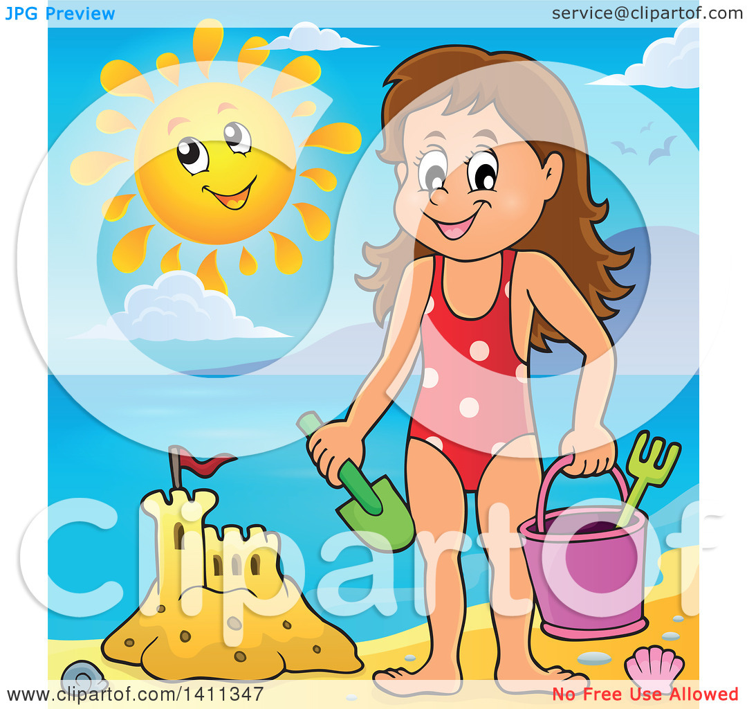 Clipart of a Happy Caucasian Girl by a Sand Castle, and a Happy.