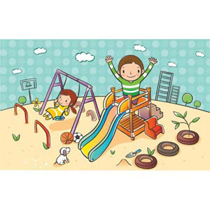 Free Vector cute children cartoon clip art playing in landscape.